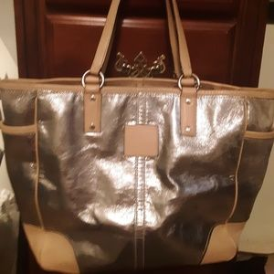 Authentic Coach purse silver and tan